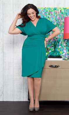 Plus size dress that you're sure to love...  The Danika Draped Dress by Kiyonna is made from a comfy jersey fabric that is perfect for packing (i.e. wrinkle free!)  #plussize #kiyonna