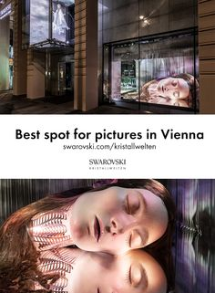 """Did you have the chance to take a picture in front of the art installation """"Lucid Dreams"""" at Swarovski Kristallwelten Store Vienna? In 2019 dutch fashion designer Iris van Herpen created five art spaces as her very personal ode to the performance of femininity. The larger-than-life woman's head """"Lucid Dreams"""" was the most spectacular of those five art spaces and the perfect location for spectacular photos. Swarovski Crystal World, Art Spaces, Fun Adventure, Iris Van Herpen, Store Windows, Lucid Dreaming, Shopping World, Window Art, International Artist"""