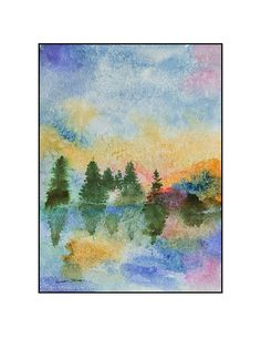 """Original Watercolor by Susan Marie Fairclough, Reflections Two, 9"""" X 12"""" Unmatted"""