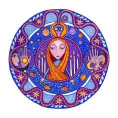 Die Hohepriesterin Tarot Mandala Print Tarock Wand Kunst Kunst für Meditation großen Mysterium Tarot Deck mandalas