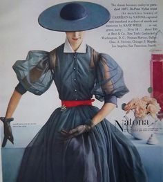 Dresses Blue Natona dress, vintage fashion style color photo print ad model magazine designer sheer chiffon puff sleeves full skirt button down collar Fifties Fashion, Retro Fashion, Vogue Vintage, Vintage Dresses, Vintage Outfits, 1950s Dresses, Fashion Advertising, Print Advertising, Advertising Campaign