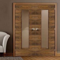 JB Kind Franquette Flush Walnut Veneered Door Pair with Clear Safety Glass, pre-Finished and providing high quality. #designerdoors #internalwalnutdoors #doubledoors