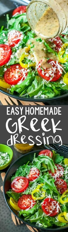 Homemade Greek Dressing Ditch the sketchy processed bottled dressing and whip up this super quick, super easy homemade Greek dressing!Ditch the sketchy processed bottled dressing and whip up this super quick, super easy homemade Greek dressing! Healthy Salads, Healthy Eating, Healthy Recipes, Healthy Salad Dressings, Homemade Salad Dressings, Taco Salads, Easy Salad Recipes, Quick Recipes, Popular Recipes