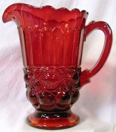 red glassware | Covered Hen – Milk Glass with Red Head