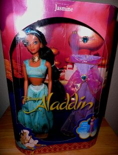 "1990's Barbie as Jasmine - totally had her. Melted her hands off gazing into her ""crystal ball""(putting her hands on a lightbulb)"