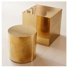 Brass stools -cube and column. yes please