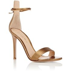Gianvito Rossi Extended-Counter Ankle-Tie Sandals ($835) ❤ liked on Polyvore featuring shoes, sandals, high heel sandals, open toe sandals, leather high heel sandals, open toe high heel sandals and ankle strap high heel sandals