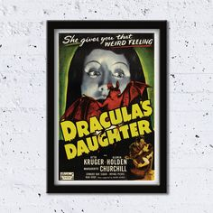 1936 Dracula's Daughter // She Give You That Weird Feeling // High Quality Fine Art Reproduction Giclée Print // Vintage Poster by WiredWizardWeb on Etsy