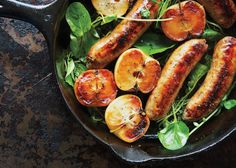 A simple white wine pan sauce brings the one-skillet dinner with sausage, apples, and watercress together.