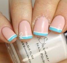 The Nail Polish Challenge: Wedding Wednesday: Blue Bow French Manicure
