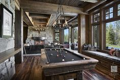 Family Room Game Room Pool Table Design Ideas, Pictures, Remodel and Decor Game Room Design, Family Room Design, Media Room Design, Billards Room, Rustic Games, Rustic Man Cave, Pool Table Room, Pool Tables, Pool Table Lighting