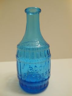 "Wheaton Glass Bottle Root Bitters Barrel 3"" Tall Blue 