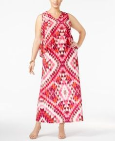 Ny Collection Petite Plus Size Printed Popover Maxi Dress - Pink 3XP
