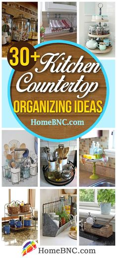 Kitchen Remodeling Countertops Kitchen Counter top Organizing Ideas - Kitchen countertop organizing ideas to maximize space with charm. See the best tips and start saving more space! Kitchen Countertop Organization, Kitchen Countertop Materials, Kitchen Remodeling, Decorating Kitchen Counters, Remodeling Ideas, House Remodeling, Lazy Susan, Kitchen Tops, Kitchen Ideas