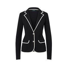Ralph Lauren Lauren Stretch Cotton Sweater Blazer ($165) ❤ liked on Polyvore featuring outerwear, jackets, blazers, slim fit jackets, two button blazer, slim jacket, button blazer and ralph lauren