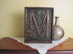 Intricately carved wood monogram letter in by WindwoodDesigns, $100.00