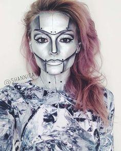 Halloween Makeup Tutorial Robot Makeup-- it looks more like the tin-woman Robot Makeup, Makeup Fx, Halloween Make Up, Scary Halloween, Costume Halloween, Halloween Party, Halloween Karneval, Fantasias Halloween, Character Makeup