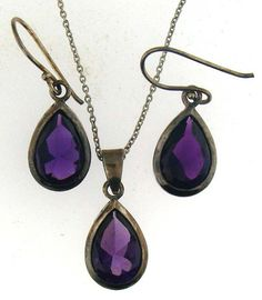Deep Violet Amethyst Sterling Silver Pear Shaped by villagejewel