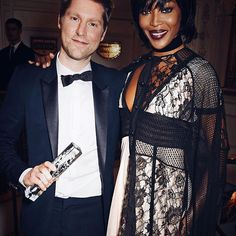 Christopher Bailey with @IamNaomiCampbell after receiving the Creative Campaign Award for @Burberry at the British Fashion Awards #BFA