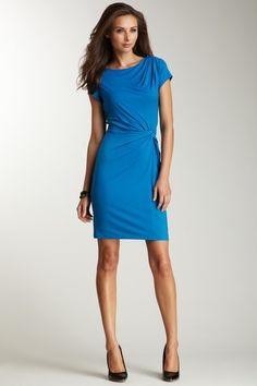 Ellen Tracy Blue Short Sleeve Sheath dress Azul