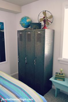 Eclectic Teen Boy Bedroom Makeover - Vintage School Lockers
