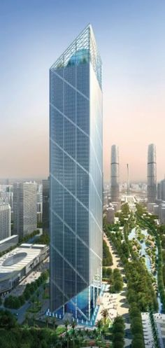 Leatop Plaza Tower, Guangzhou, China by Murphy Jahn :: 64 floors, height 302m #futuristicarchitecture