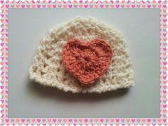 A V Stitch Crochet Hat & Heart❤️