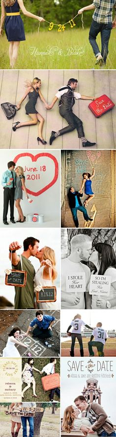 56 Save the Date Ideas- the only one I like is the red painted heart one.