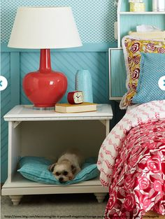 Re-purpose an old end table into a cozy dog bed for your pooch. #recycle #pet #bed