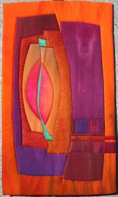 Orange Leaf by Frieda Anderson Watercolor Quilt, Landscape Art Quilts, Quilt Modernen, Creative Textiles, Collage Techniques, Small Quilts, 3d Quilts, Contemporary Quilts, Elements Of Design