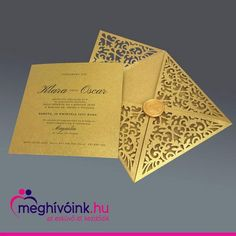 Gold lasercutted wedding card. Wedding Cards, Gold, Wedding Ecards, Wedding Invitation Cards, Wedding Card, Yellow