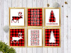 Buffalo Plaid Christmas Decor  Red Plaid by GlamazonGraphics