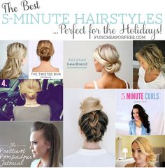 5-minute hairstyles - perfect for the Holidays! From FunCheapOrFree.com