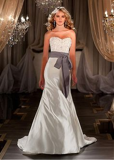 Stunning Satin Sweetheart Neckline Natural Waistline Sheath Wedding Dress With Beaded Lace Appliques