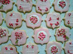 Floral royal icing Sugar cookies pink