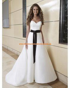 Unique Herz-Ausschnitt Brautkleider aus Satin A-Linie mit schwarze Band 2013