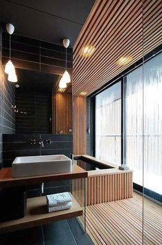 17 schicke und elegante Badezimmer Interieur 17 chic and elegant bathroom interior # Small bathrooms room # Wood furniture Modern Bathroom Design, Bathroom Interior Design, Bathroom Designs, Modern Bathtub, Japanese Bathroom, Asian Bathroom, Zen Bathroom, Master Bathroom, Bathroom Black