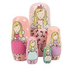 Set of 5 Cutie Lovely Pink Angel Nesting Dolls Matryoshka Madness Russian Doll Popular Handmade Kids Girl Gifts Toy