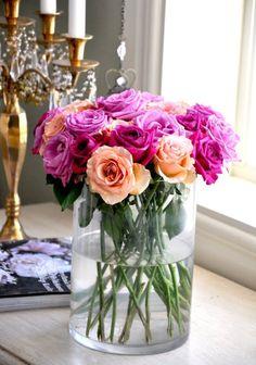 pink + peach roses