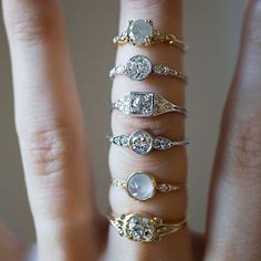 Don't mind my ring tan! I'm just dying over our vintage beauties! One of a kind reclaimed Old Mine, Old Euro, and Grey Diamond rings.... Which is your favorite? ✨✨✨✨
