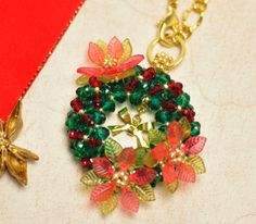 3D Beaded christmas wreath with pointettia PATTERN