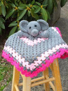 Baby girl elephant lovey blanket crochet lovey by 4my4creations