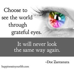 Choose to see the world through grateful eyes. It will never look the same way again. ~Doe Zantamata