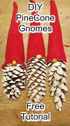Diy pinecone gnomes diy pinecone flowers with stems Christmas Ornament Crafts, Christmas Crafts For Kids, Diy Christmas Gifts, Rustic Christmas, Simple Christmas, Holiday Crafts, Christmas Holidays, Christmas Sock, Chritmas Diy