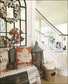 Beautiful farmhouse mantel and fireplace fall decor for the Autumn season!80+ elegant fall mantel decor ideas - page 41 | myblogika.com