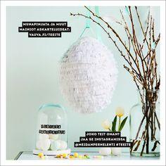 Itse tehty munapinjata on komea pääsiäiskoriste, joka sopii myös synttärijuhliin. Täytä se bileiden teeman mukaisesti kevyillä karkeilla tai pienillä suklaamunilla.