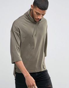 ASOS   ASOS Oversized 3/4 Sleeve T-Shirt With Funnel Neck