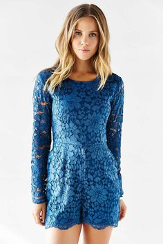 Kimchi Blue Long-Sleeve Lace Romper - Urban Outfitters
