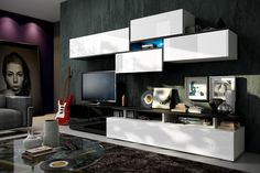 Meblościanka Balance - biały mat/połysk + czarny mat/połysk  #furniture #meble #white #bw #TVset #salon #livingroom