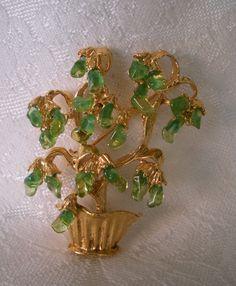 Swoboda Flower Vase Brooch Peridot Gems Cascading Stones.